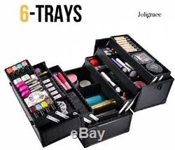 Joligrace 6 Trays Makeup Train Case Cosmetic Box with Lock and Compartments 14