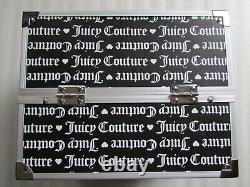 Juicy Couture Travel Train Case Cosmetic Makeup Jewelry Logo Black Silver
