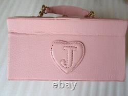 Juicy Couture Travel Train Case Cosmetic Makeup Jewelry Pink Leather Scottie Dog
