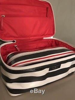 Kate Spade 2pc Cosmetic Travel Makeup Case Black & White Stripe, Red, Train Case