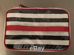 Kate Spade 2pc Cosmetic Travel Makeup Case Black & White Stripe, Red, Train Case
