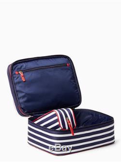 Kate Spade Classic Micah Sapphire & Cream Stripe Train Case Cosmetic Case Set