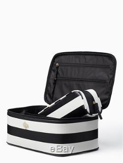 Kate Spade Cobblestone Park Cream & Black Stripe Train Case Cosmetic Case Set