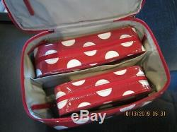 Kate Spade Daycation 3 Large Red Dot Polka Train Case Cosmetic Set Lot