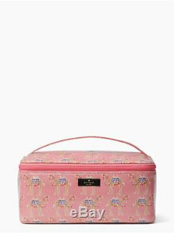 Kate Spade Daycation Pink Camel Party Print Colin Train Case Cosmetic Case Set