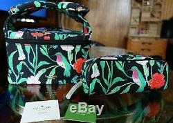 Kate Spade Humming bird nylon train case set/ Kate Spade Pouch Cosmetic bag
