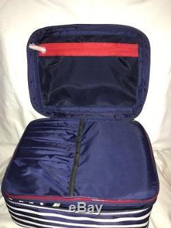 Kate Spade Micah Train Case/Cosmetic Case Sapphire/Cream Stripe Nylon 10 x7 x 5