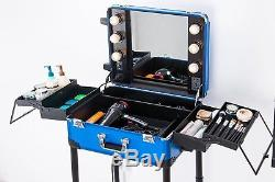 Kemier Makeup Case, Professional Artist Studio Cosmetic Train Table with4 Rolling
