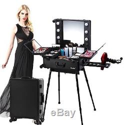 Kemier Makeup Case, Professional Artist Studio Cosmetic Train Table with4 Rolling &