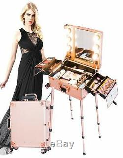 Kemier Makeup Case, Professional Artist Studio Cosmetic Train Table with4 Rolling W