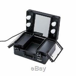 Kemier Makeup Train Case-Cosmetic Organizer Box Lights Mirror Makeup (Black)