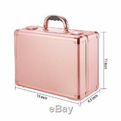 Kemier Makeup Train Case Cosmetic Organizer Box Makeup Case With Lights And Mi