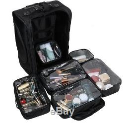 Kemier Portable Cosmetic Organizer, Soft-Sided Nylon Rolling Makeup Case with