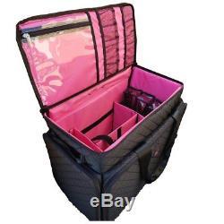 Kiota Soft Makeup Case on Wheels Cosmetic Trolley with Inside Storage Pocket