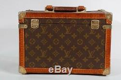 LOUIS VUITTON RARE 1975 s VINTAGE MONOGRAM TRAIN CASE MIRROR COSMETIC CASE SMALL