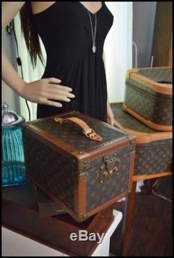 LOUIS VUITTON VINTAGE BOITE TRUNK Train Case MAKEUP BOX Mirror HAND BAG 2 Pc Set