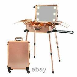 Large Makeup Train Case with Speaker & Code Lock & Full Screen Rose Gold
