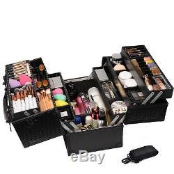 Large Train Case Display Makeup Cosmetic Storage Organizer Travel W Lock 6 Tray