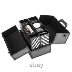 Large Train Case Pro Cosmetic Cases Makeup Storage Organizer Box 6-Trays Black