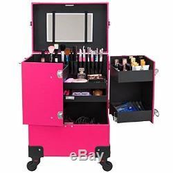 Large train case makeup 4 wheels organiser portable pro artist stylist freelance