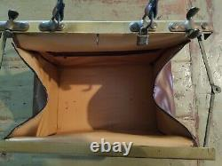 Leather Train Case Cosmetic Travel Bag Vintage Dr vintage doctor, patina