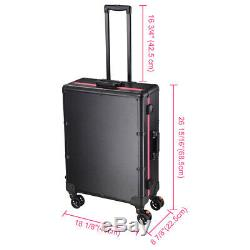 Lockable Rolling Makeup Case Train Box Cosmetic Organizer Trolley with LED Light