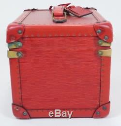 Louis Vuitton Red Epi Leather Boite Flacons Cosmetic Train Makeup Trunk Case 710