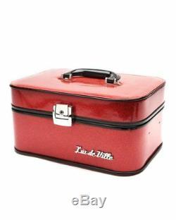Lux De Ville Elvira Vanity Case Red Sparkle NEW Leopard Lined Train Case Pin Up