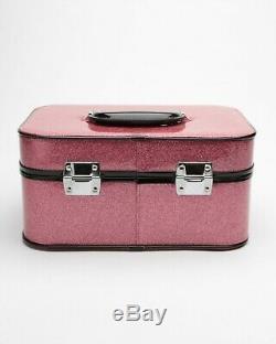 Lux De Ville Vanity Case Pink Sparkle Glitter NEW Leopard Lined Train Case PinUp