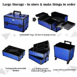 Luxury Aluminum Makeup Rolling Trolley Case Cosmetic Organizer Train Storage Box