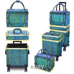 Luxury Malachite Green Rolling Makeup Train Case Box Cosmetic Organizer Trolley