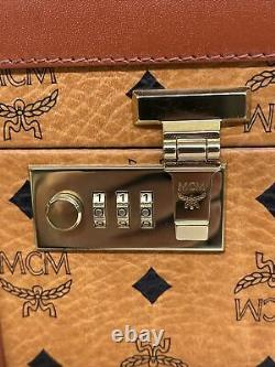MCM Rare Leather Visetos Brown Cosmetic Train Case Hard Luggage Beauty New