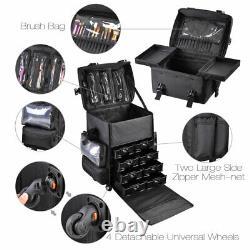 MUA Rolling Makeup Case Train Brush Box Cosmetic Organizer Trolley Drawer Trays