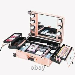 Makeup Case, Professional Artist Studio Cosmetic Train Table with4 Rose Glod