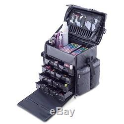 Makeup Cosmetic Carry Case with 8 Removable Organizer Drawers Holder Nylon Fabric