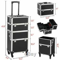 Makeup Cosmetic Trolley Train Case 3 in 1 PRO Aluminum Rolling Large Capacity