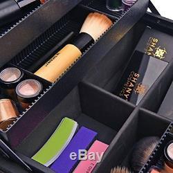 Makeup Kit Set Professional Train Case Cosmetics Women Shoulder Strap Cream NEW