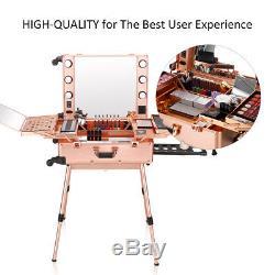 Makeup Organizer Bag Led Mirror Kit Case Box Trolley Wheels Travel Lock Rose