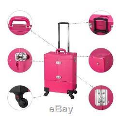 Makeup Organizer Bag Mirror Kit Case Box Trolley Wheels Travel Lockable Pink
