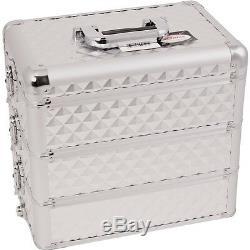Makeup Storage Box Train Make Up Cosmetic Luggage Organizer Rolling Beauty Case
