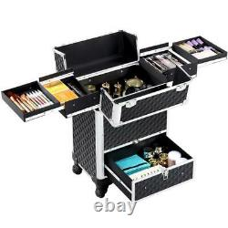 Makeup Train Case 4 Retractable Tray Drawer Rolling Cosmetic Box Trolley Storage