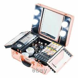 Makeup Train Case Cosmetic Organizer Box Makeup Case with Lights Rose Gold