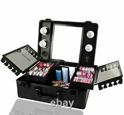 Makeup Train Case Cosmetic Organizer Box Makeup Case with Lights and Black