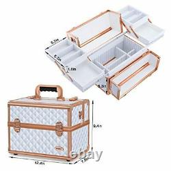 Makeup Train Case Large, Portable 4-Tier Trays Cosmetic Train Case with White