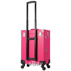 Makeup Train Case Lockable Cosmetic Train Case 4 Removable Rolling Wheels Pink