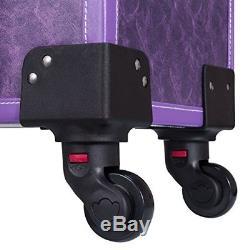 Makeup Train Case Lockable PU Artist Cosmetic 4 Rolling Wheels and 4 Keys