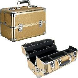 Makeup Train Case Organizer Cosmetic Beauty Travel Storage Aluminum Box Key Lock