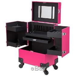 Makeup Train Case Portable Professional With Mirror And Rolling Wheels For Women