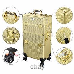 Makeup Train Case Pro Trolley Cosmetic Beauty Organizer Studio 3in1 Rolling Box