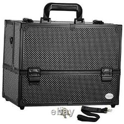 Makeup Train Case Professional Adjustable 6 Trays Cosmetic Cases 3. Black